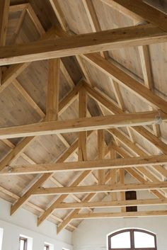 """Homes With Exposed Trusses"" talk about the frames composed of timber that would be nailed, bolted or pegged together to make structurally independent shapes of Timber Roof, Timber Frame Homes, Timber House, Exposed Trusses, Roof Trusses, Roof Truss Design, Roof Styles, House Roof, Log Homes"