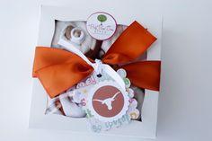 "University of Texas UT Longhorns Diaper ""Cupcakes"" Baby Shower Gift"