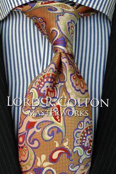 Lord R Colton Masterworks Tie - Pisaq Paisley Gold Red Silk Necktie - $195 New #LordRColton #NeckTie