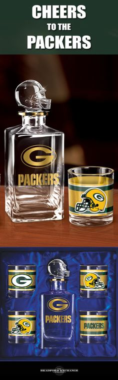 Raise a toast to your Green Bay Packers with a handsome 5-piece decanter set. This officially-licensed NFL barware set includes a crystal-clear decanter with a team helmet stopper, 4 team icon glasses rimmed in gleaming 12K gold and a satin-lined gift box.