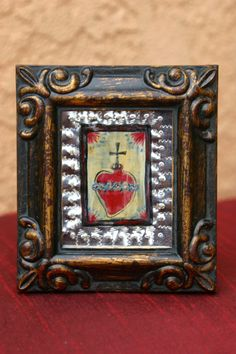 Sacred Heart Framed Miniature Tin Retablo by raptorsandretablos, $50.00