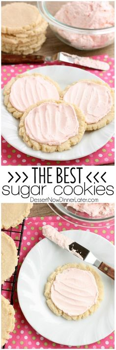The ingredients list might surprise you with these scoop, press, and bake rustic-looking Sugar Cookies. With a soft, sweet, melt-in-your-mouth cookie base, topped with a smooth and dreamy buttercream frosting — these really are the BEST Sugar Cookies you will make at home!