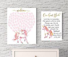 Unicorn Fingerprint guestbook Print Unicorn Baby shower, Fantasy theme, Unicorn nursery, Horse print, Guest book, baby shower, fantasy prints, fairyland, Pegasus, new baby, girl baby shower, baby girl,