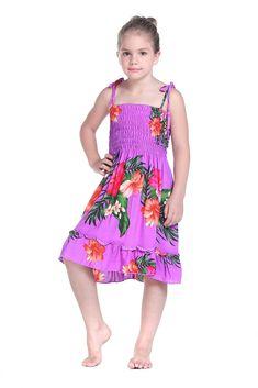 Girl Elastic Ruffle Hawaiian Luau Dress in Purple 6. 100% Rayon. Designed in Hawaii.