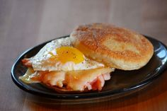 This breakfast sandwich from Mercantile and Mash features an organic egg, shaved smoked ham, and fontina cheese on a house-made english muffin.