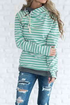 Double Hooded Sweatshirt - Mint Stripe mint, hoodie, cute hoodie, sweatshirt, side zip hoodie, zipper detail, mindy mae, outfit, cozy, casual outfit, shop, fashion, style