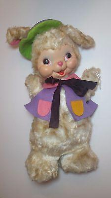 """Vintage 1950's RUSHTON Rubber Face 18 1/2"""" Rabbit Orig Felt Outfit Painter Bunny"""