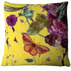 Timorous are certainly not the first people to put a butterfly on a cushion but in this case the butterfly does not even appear to be on it but above it, hovering over distant blurred flowers. The effect is slightly disorientating and completely captivating and again proves the power of a simple idea ingeniously applied.