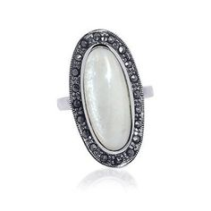 mother of pearl #marcasite #ring in sterling silver $36.99