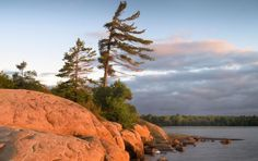 Located in the world's largest freshwater archipelago, the Islands of Georgian Bay Islands National Park have become an iconic part of the Canadian Landscape (This image reminds of a Group of Seven painting- Tom Thompson maybe? Landscape Photos, Landscape Art, Watercolor Landscape, Watercolor Art, Landscape Photography, Nature Photography, Ontario Provincial Parks, Ontario Parks, Parks Canada