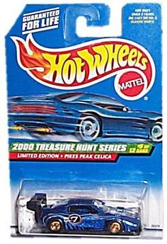 Hot Wheels - Limited Edition Treasure Hunt Series (2000) - Pikes Peak Celica (Metalflake Dark Blue) - #9 of 12 - Collector #057: 2000 by Mattel, Inc.. $9.45. 2000 - Mattel - Hot Wheels - Treasure Hunt Series. Rare Gold Solid Wheels - Plain Black Tires - Collector #057. Pikes Peak Celica - Metallic Blue - Black Spoiler & Base. New - Mint - Rare - Limited Edition - Collectible. Out of Production - 1:64 Scale Die Cast Metal. 2000 - Mattel - Hot Wheels - Treasure Hunt Series - Pike...