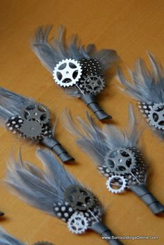 "This is a really interesting and unique way to add the ""man"" element to a boutonniere Gray and Silver 'Tinman' Gear and Sprocket by SurroundingsOnline"