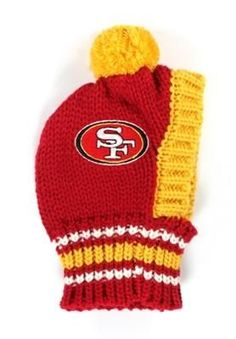 91eefe6c5 San Francisco 49ers NFL Official Licensed Team Crown Rib Knit Ski Hat for  Dogs in color
