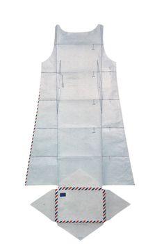 Airmail dress in Tyvek envelope (1999), Hussein Chalayan