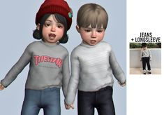 The Sims 4 Jeans + longsleeve by casteru The Sims 4 Kids, Toddler Cc Sims 4, The Sims 4 Bebes, Sims 4 Toddler Clothes, Sims 4 Cc Kids Clothing, Sims 4 Children, Sims 4 Teen, Sims 4 Mods Clothes, Sims Four