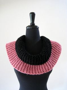 SALE Pink and Black Color Knitted Woman Scarf by KnitsomeStudio