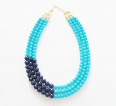 Color Block Necklace Turquoise and Navy Blue by silverliningdecor, $62.00