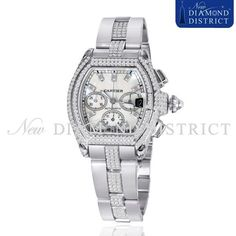 12.75ct Diamond Dial Extra Large Cartier Roadster Chronograph W62020X6 Watch #Cartier