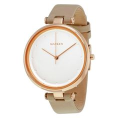 Tanja White Dial Beige Leather Ladies Watch Skagen Watches, Breitling Watches, Discount Watches, Casual Watches, Luxury Jewelry, Stainless Steel Case, Gold Watch, Quartz, Rose Gold
