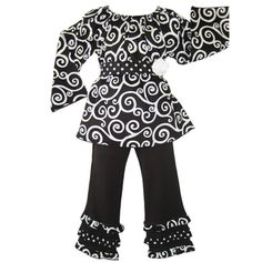 Ann Loren Girls Swirl Pant Set   Overstock.com