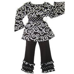 Ann Loren Girls Swirl Pant Set | Overstock.com