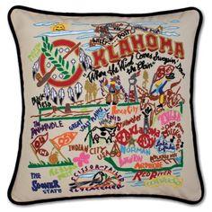 OKLAHOMA HAND-EMBROIDERED PILLOW $158