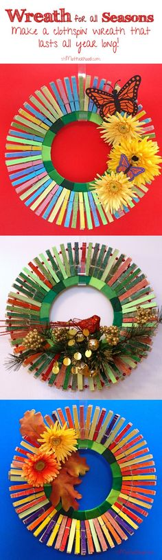 How Turn a Frisbee into a Clothes Pin Wreath--Fast! : A Clothespin Wreath for All Seasons (plus a linky for you) I did a little upcycling and turned a frisbee of doom into a trendy clothes pin wreath. Adult Crafts, Crafts To Sell, Easy Crafts, Diy And Crafts, Wreath Crafts, Diy Wreath, Flag Wreath, Clothespin Crafts, Holiday Wreaths