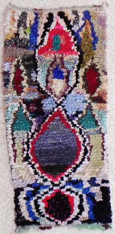 RAG  RUG BOUCHEROUITE from Morocco called also boucharouette berber tribal art, moroccan carpet