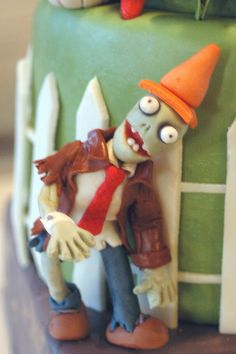 Conehead Zombie detail in Plants vs. Zombies Cake.  Made for my son's 8th birthday.