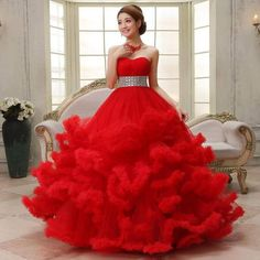 new Colored Wedding Dress Available in Vari Red Wedding Gowns, Wedding Frocks, Colored Wedding Dress, Luxury Wedding Dress, Wedding Dress Sleeves, Party Wedding, Wedding Ideas, Pretty Quinceanera Dresses, Unique Prom Dresses