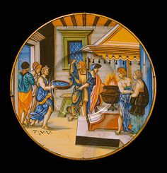 Plate, Vesta Tuccia Carrying Water in a Sieve from the River Tiber to the Temple, Avelli da Rovigo, Francesco Xanto. Italy, Urbino. 1538, Majolica; painting over opaque white tin glaze. Diam. 26 cm