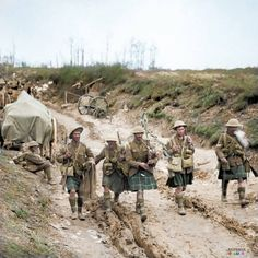 Battle of Bazentin Ridge 14-17th July 1916.  A piper of the 7th Bn. the Seaforth Highlanders leads four men of the 26th (Highland) Brigade, 9th (Scottish) Division back from the trenches after the attack on Longueval, Somme on the 14th July. The Battle was a 'Tactical Victory' for all of the five British Divisions present but at a cost of over nine thousand casualties.  (Photo source -© IWM Q 4012)