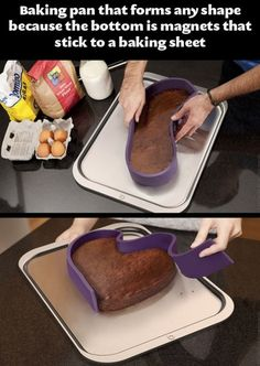 Baking pan that forms any shape because the bottom is magnets that stick to a baking sheet.