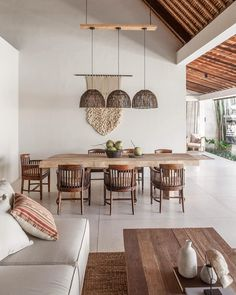 The recently renovated Villa Massilia is a design lover's paradise and the ideal setting to host a large group of family or friends for a beach adventure in Seminyak, Bali. Home Design, Home Interior Design, Interior Architecture, Dining Room Inspiration, Home Decor Inspiration, Dining Room Design, Home And Living, Living Spaces, Sweet Home