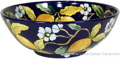 Beautiful Blue Lemon Serving Bowl high x diameter in high x 12 in diameter) Glass Ceramic, Ceramic Bowls, Ceramic Art, Glazes For Pottery, Ceramic Pottery, Lemon Bowl, Italian Pottery, Blue Pottery, Teapots And Cups