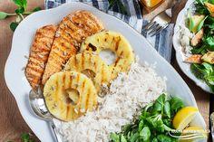 Sałatka z grillowanym kurczakiem, ananasem i ryżem Shrimp, Grains, Food And Drink, Chicken, Meat, Pineapple, Seeds, Korn, Cubs
