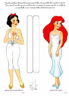 Princess Snow White Princess Ariel Auf bonecasdepapel.blogspot.com http://www.pinterest.com/annamariec19773/decoupage-ideas/ dort gibt's noch viele Disney paper dolls!