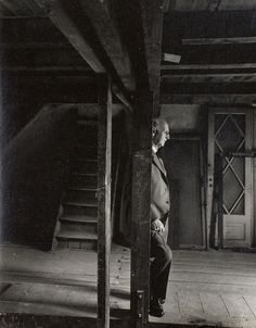 Otto Frank, Anne Frank's father and the only surviving member of the Frank family revisiting the attic they spent the war in, 3 May 1960.  Original photo byArnold Newman.