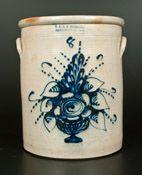 "$4,600 Possibly Unique Eight-Gallon Stoneware Crock with Large Cobalt Flowering Urn Decoration, Stamped ""E. & L.P. NORTON / BENNINGTON, VT.,"" circa ..."