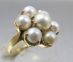 Art Deco Pearl Ring Size 6 14K Yellow Gold by TonettesTreasures