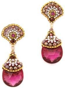 Miguel Ases Scallop Stone Drop Earrings Pink Multi in Pink (Pink Multi ...