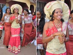 Nigerian Wedding: 30 Gorgeous Igbo Traditional Bridal Styles, The George Wrappers, Igbo Blouse Nigerian Wedding Dress, African Wedding Attire, Nigerian Bride, Nigerian Weddings, African Weddings, Nigerian Traditional Dresses, Igbo Wedding, Wedding Blue, Traditional Wedding Attire