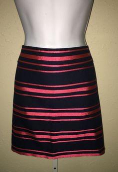 J.Crew Navy Blue Pink Striped Straight Mini Skirt Size 8 Cotton Blend #JCrew #Mini