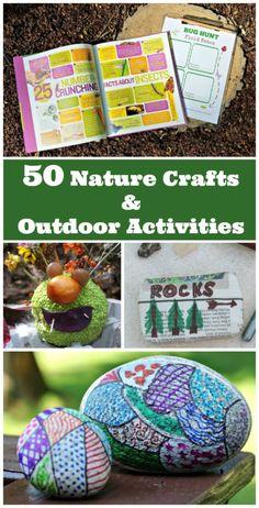 Easy ideas for nature crafts and outdoor activities for preschoolers, big kids, tweens