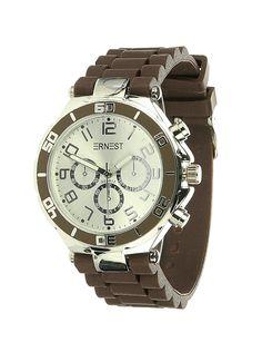 Ernest Horloge Zilver - Bruin is een prachtig zilveren horloge met een bruine kunststoffen band en een zilveren wijzerplaat.