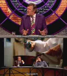 """QI: """"What happens to alcohol when you boil it"""" :: so glad I found this show :) British Humor, British Comedy, English Comedy, British Things, British People, Funny Facts, Funny Quotes, Funny Images, Funny Pictures"""