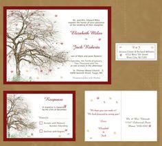 Items similar to Fall Tree Themed Wedding Invitation-leaves, red, green, yellow on Etsy Tree Themed Wedding, Wedding Themes, Wedding Ideas, Rustic Wedding, Wedding Inspiration, Dream Wedding, Wedding Stuff, Wedding Shit, Wedding Bells