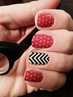 #Jamberry Black and White Chevron, Raspberry and Creme Swiss Dot (retired) Order at marissacovalt.jamberrynails.net