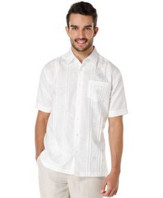 Cubavera Embroidered Pintucked Shirt