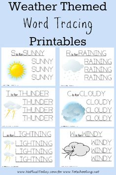Love these FREE weather-themed word tracing printables! Great idea for a weather learning unit this spring & summer for preschoolers! - www.MePlus3Today.com for Totschooling.net